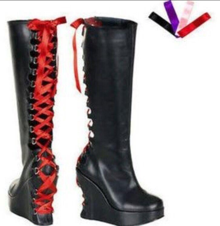 Demonia Platform Corset Stiefel Damenschuhe Blk Pu Goth Punk Cyber NWOB SZ 7 Misfit