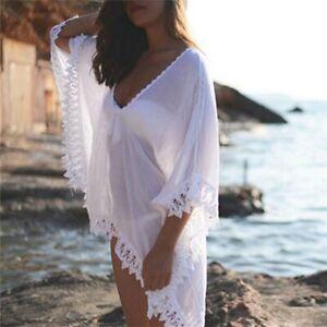 8372f1e4 Details about Vestido Transparente de Playa Chifón Encaje para Usar con  Bikini Traje de Baño
