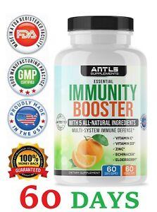Immunsystem Booster & Support, Vitamin C, d3, Zink, Holunderwein, Echinacea Kapseln