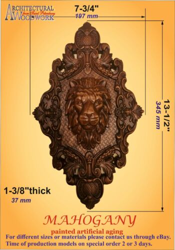 Wooden carved decor with Lion Head