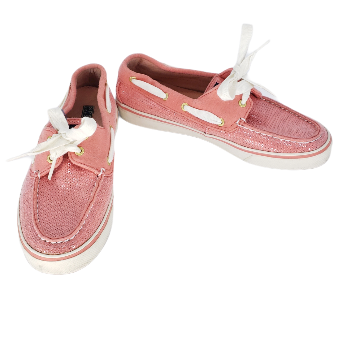 Sperry Top Slider Bahama Coral Jersey Sequins Boat Shoes Size 7M 9688656