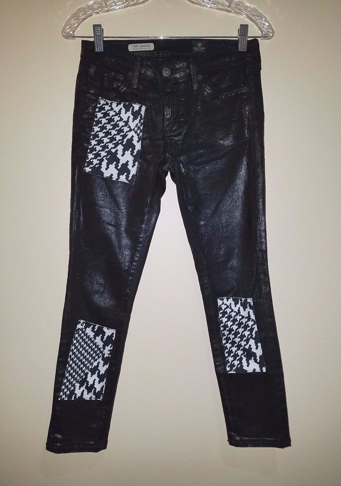 ADRIANO goldSCHMIED AG The Legging Super Skinny Blk Detailed Stretch Jean Sz 26R