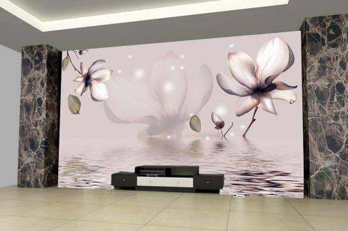 3D Fiori d'acqua 5 Parete Murale Carta da parati immagine sfondo muro stampa