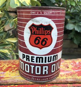 Vtg 1950s PHILLIPS 66 Premium Motor Oil 1 Quart Oil Can Tin Gas & Oil Station