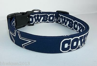 Dallas Cowboys Star NFL Terri's Dog Collar custom made adjustable Navy fabric