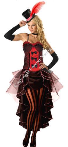 Burlesque Moulin Rouge Costume Costume Can Can Ragazza Danza Vestito Cappello /& Guanto
