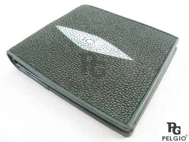 PELGIO Genuine Stingray Shagreen Skin Leather Bifold Soft Business Wallet Green