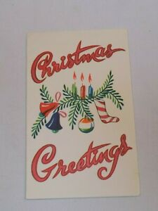 Christmas Greeting Card Old Vintage Bells Greenery Stocking Candles Ornament USA