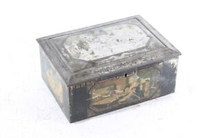 Old Tin Can Original Collector Can with Lock Great Picture Decor Old Vintage
