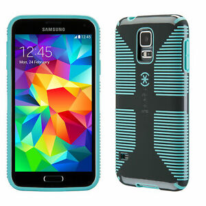 detailing 18cb8 caabb Details about Speck CandyShell Grip Samsung Galaxy S5 Cases Slate  Grey/Mykonos Blue