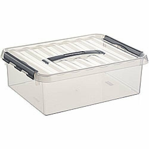 6 x SUNWARE Q-Line Box - 10 Liter mit Griff - 400x300x110 mm -transparent silber