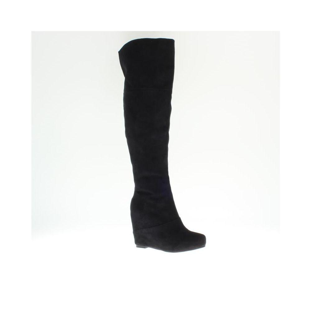 Asos London Rebel Tilly Black Textile OTK Wedge Boots (approx. 4.5