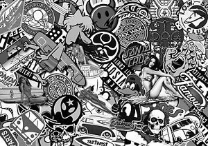 Image Is Loading X3 B Amp W Surf Sticker Bombing Sheets