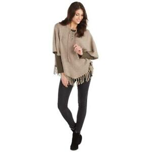 Mud-Pie-Womens-Pixie-Speckled-Knit-Poncho-Fall-Tan-Color-Fringed