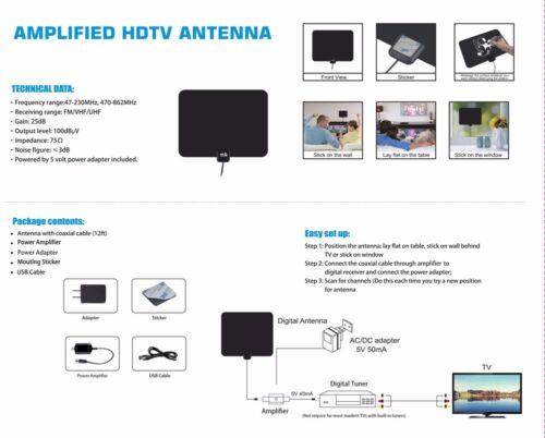 INDOOR FLAT THIN HDTV TV ANTENNA 50 MILES AMPLIFIED 25dB GAIN VHF UHF FM
