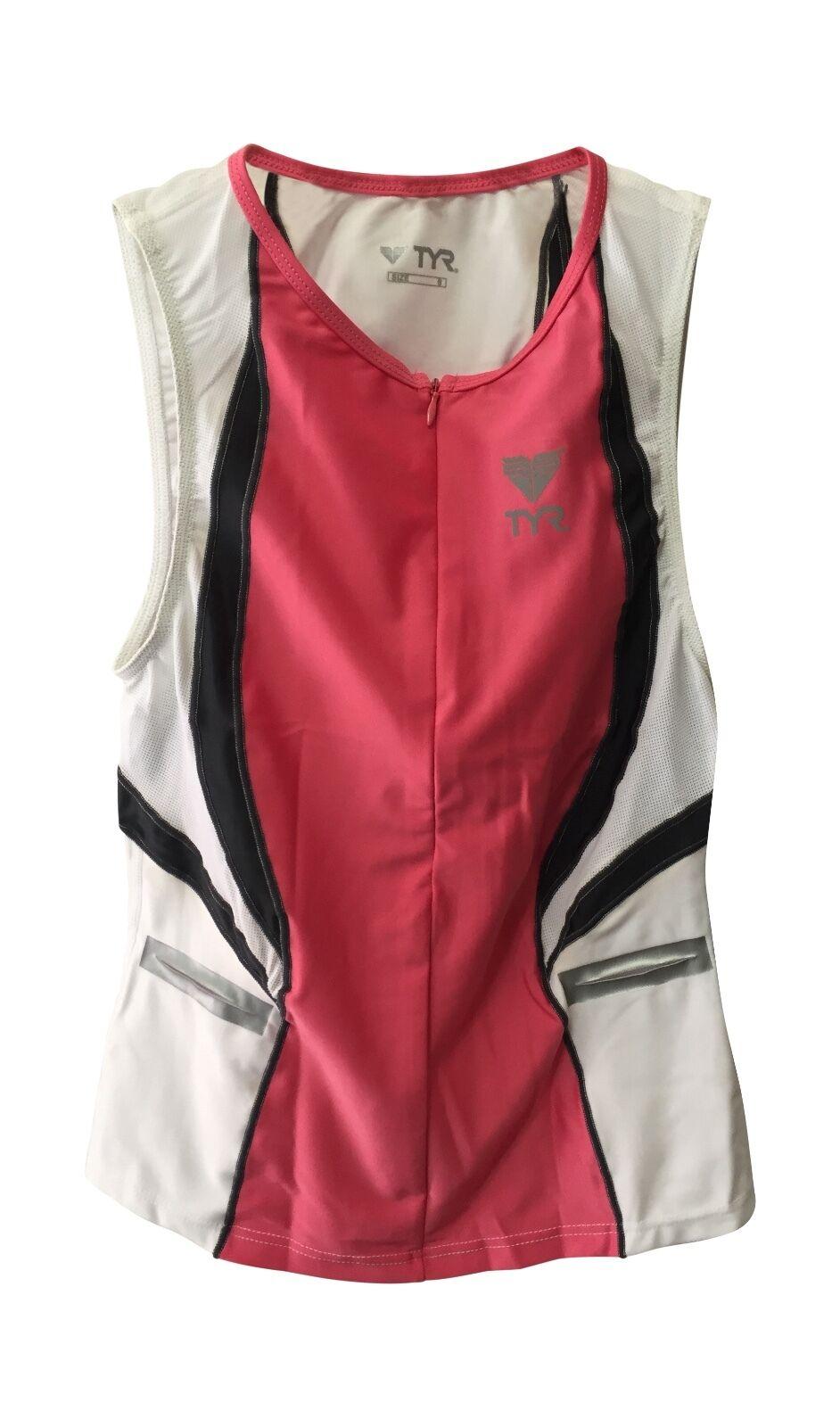 New TYR Splice Fem Singlet triathlon swimming biking running pink white top