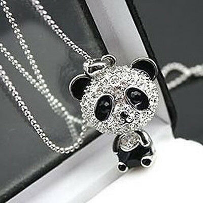 Fashion Crystal Rhinestone Moving Head Cute Panda Pendant Sweater Necklace Chain