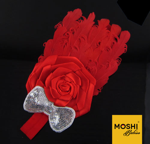Baby Girls Kids Red Feather Flower Sequin Bow Hairband Wedding by Moshi Babies