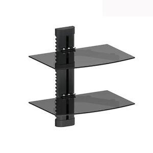 2-TIER-DUAL-GLASS-SHELF-WALL-MOUNT-UNDER-TV-CABLE-BOX-COMPONENT-DVR-DVD-BRACKET