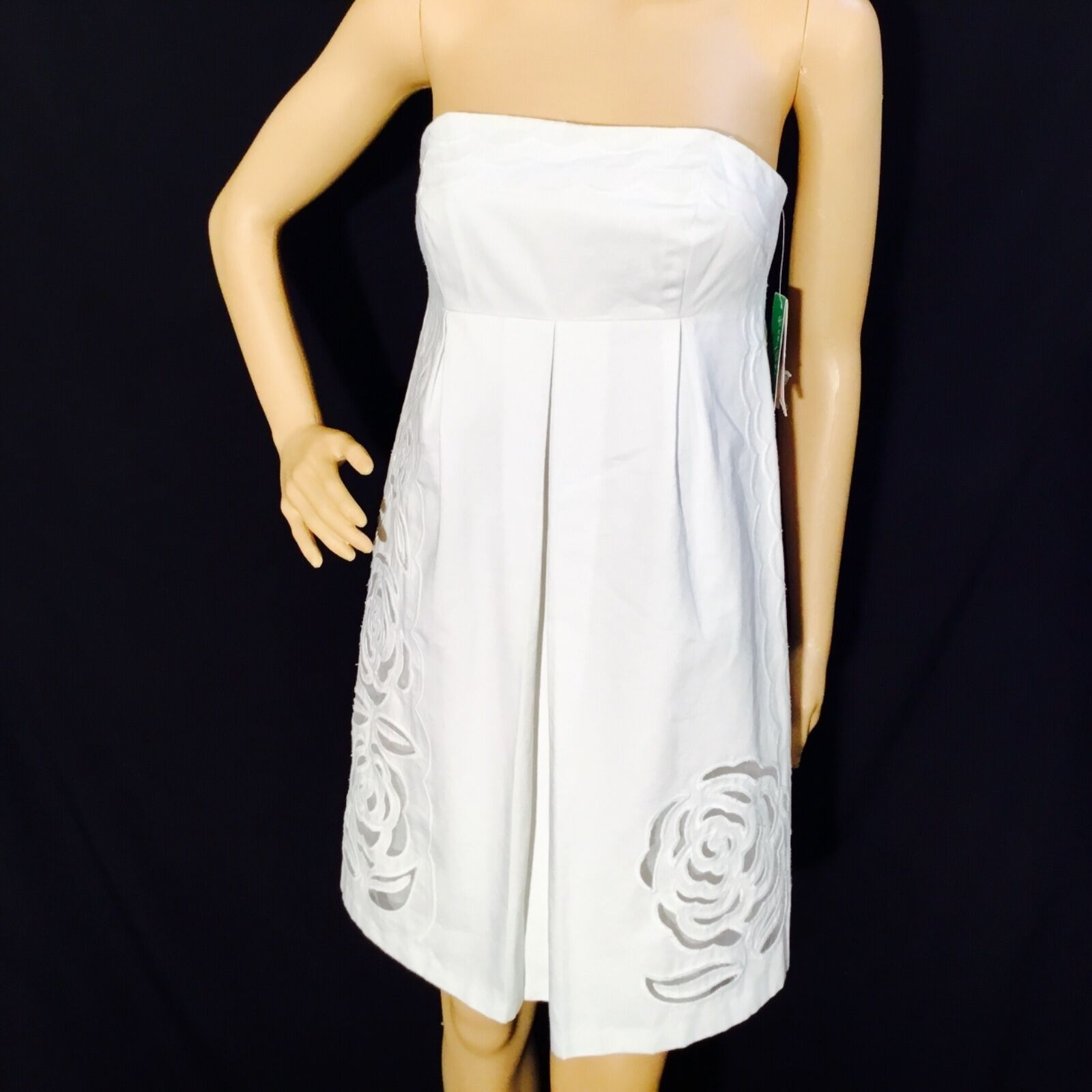 NWT LILLY PULITZER Betsey Dress Embroiderot, Classic Weiß, Größe 0, srp