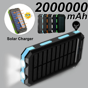 Solar Charger 2000000mAh Power Bank 2 USB Fast Charger Outdoor External Battery