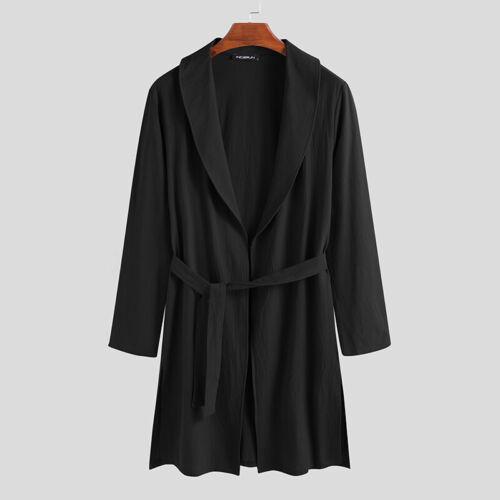 Men/'s 100/%Cotton Pajamas Nightwear Long Sleeve Nightshirt Kaftan Sleepwear Dress