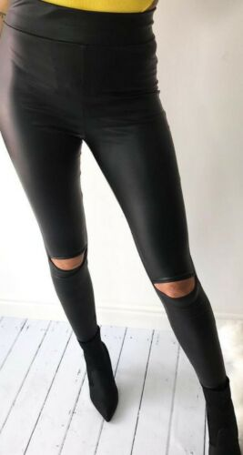 LA Damen High-Waist Kunstleder Leggings Cut-Out Lederleggings Wetlook Glanz