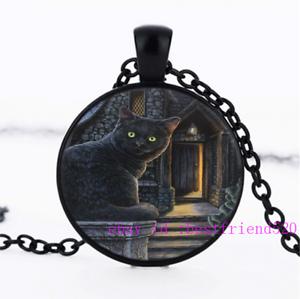Collier chat noir Photo Tibet Argent Cabochon Verre Pendentif Chaîne Collier