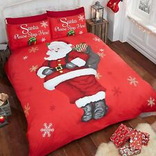 SANTA STOP HERE CHRISTMAS SINGLE DUVET COVER AND PILLOWCASE SET XMAS BEDDING NEW
