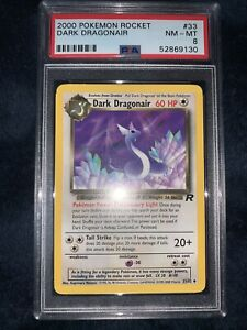 PSA 8 NEAR MINT 2000 Pokemon Team Rocket #33 Dark Dragonair
