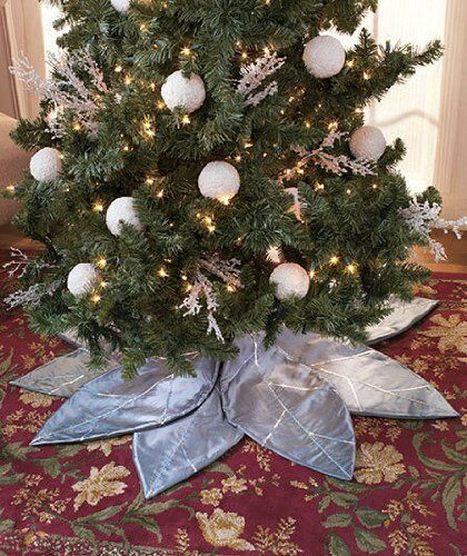 Silver Poinsettia Christmas Tree Skirt 8 Adjustable Petal Sequin Polyester Decor