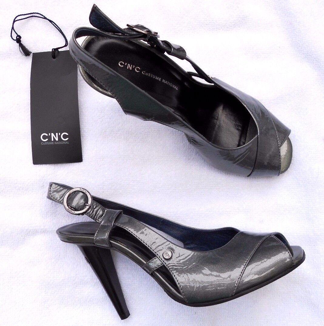 C.N.C Costume National Escarpins sandales cuir verni gris  P 37½ neufs