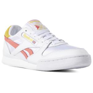 reebok white & yellow phase 1 pro trainers