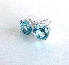 Aqua Light Blue Men Girl Stud Earrings Simulated Diamond 7mm White Gold Plated