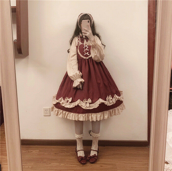 Lolita Lady Ruffle Dress Princess Vintage Victorian Cosplay Puff Sleeve Bow Cute