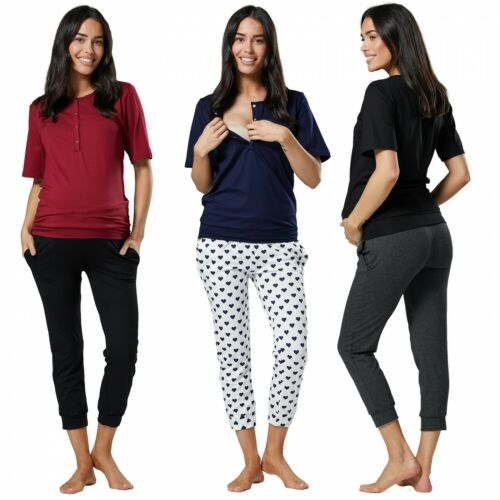 Zeta Ville. Women's Maternity Nursing Pyjama Set Loungewear Cropped Pants. 071p