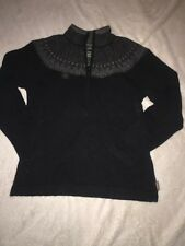 Woolrich Women's Large Sweater Crew Neck Black And Grey Quarter Zip Up