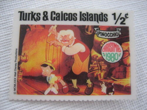 Collectible Turks & Caicos Islands 1980 Stamp Pin Walt Disney Pinocchio P104