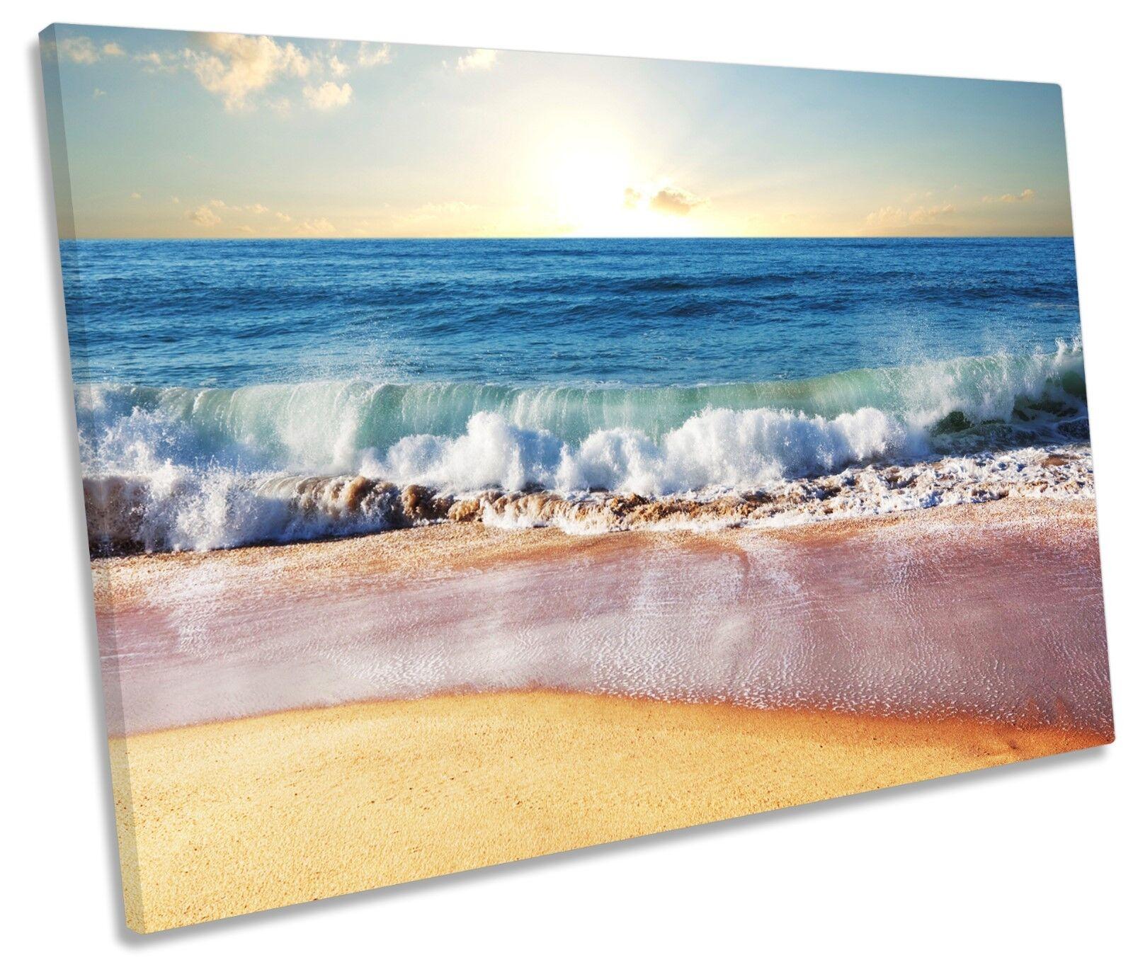 Sandy Beach Seascape CANVAS WALL ART SINGLE Picture Print