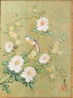 Vintage Painting Watercolor Pastel Japanese Artwork Signed jds