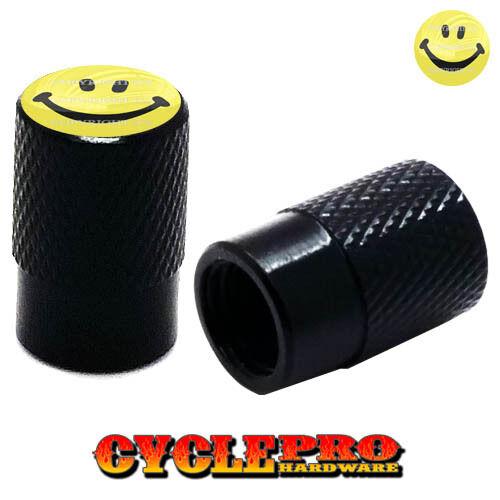 012 SMILE FACE 2 Black Billet Knurled Tire Valve Cap Motorcycle