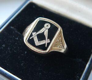 1963-Vintage-9ct-Gold-Gents-Masonic-Swivel-Ring-JRF-Size-Q-7-4g