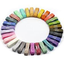 Midi Ribbon Glitter Metallic Fold Over Elastic Stretch FOE Elastics For Hair Tie