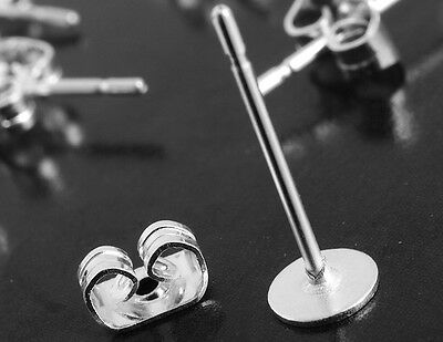 Flat Pad Studs Earring Back Post Silver Plated Jewelry Making 4x11mm 25 Sets