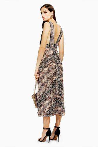 10 Us6 38 Snake Plissé Pinafore Taille Dress Topshop wXS0qOB