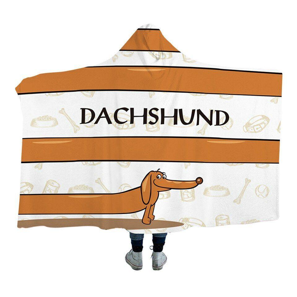 Dachshund Sausage Dog Stripe Kids Adults Sherpa Fleece Fur Hooded Blanket Throw