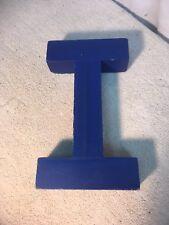 Letter I Big Vtg Wood Block Type Italic Font 75in X 45in X 15in Blue