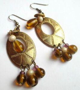 Grandes Boucles D'oreilles Percées Couleur Or Tombant Perles Bijou Vintage 2120