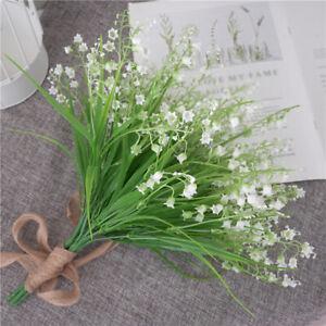 2x-Artificiel-Plantes-Fleurs-Lily-Of-The-Valley-Haufen-Mariage-Accueil-Decor