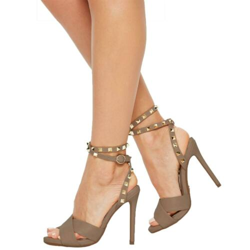 Ladies Women High Stiletto Heel Sandal Cross Vamp Stud Ankle Tie Strap UK Size 5
